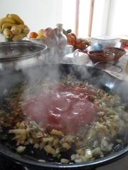 Making sofrito for paella