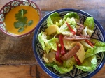 Vegetarian Chinese Chicken Salad and Ginger Carrot Soup