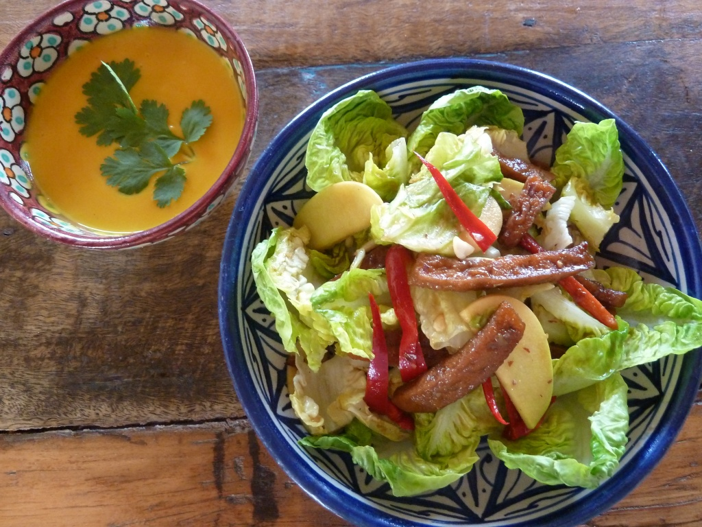 ginger carrot soup and vegetarian chinese chicken salad